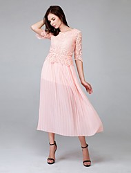 Women's Party/Cocktail Loose Dress,Solid Above Knee Short Sleeve Pink Polyester Summer
