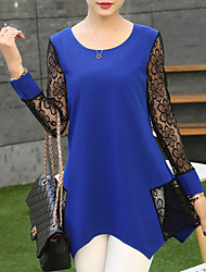 Women's Patchwork / Lace Blue / Black / Green Blouse , Round Neck Long Sleeve Plus Size