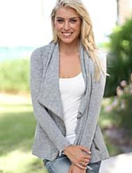 CEN     Women's Solid Color Gray Coats & Jackets , Casual Asymmetrical Long Sleeve