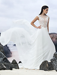 lanting épouse une ligne de robe de mariée-cour train de bijou en mousseline de soie