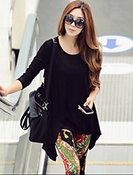 Women's Loose Knit Long-sleeved Round Neck T-shirt/Top