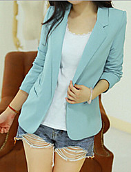 Women's All Match Solid Slim Blazer , Casual / Work Peaked Lapel Long Sleeve