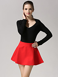 Women's Solid Red / Black / Gray Skirts , Casual / Work Mini