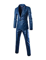 Blazer Pour des hommes Couleur plaine Décontracté Polyester / Mélange de Coton Manches longues Bleu / Gris