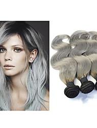 """3pcs / lot 10 """"-34"""" brazilian paquetes armadura del pelo humano onda del cuerpo Ombre extensiones de cabello gris plata"""