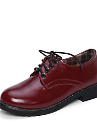 Women's Shoes Low Heel Round Toe Oxfords Casual Black/Red