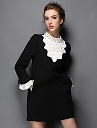 Plus SIze Women Clothing Winter Vintage Luxury Bead Patchwork Falbala Fashion Party/Casual/Work Dress