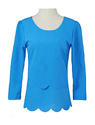 Women Chiffon Blouse Sexy Open Back Scalloped Cutout 3/4 Sleeve Layered Casual Shirt Top