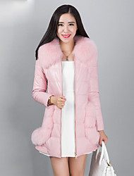 Women's Fashion Casual Fox Fur Spliced Genuine/Real Sheepskin/Lambskin Leather Down Jacket/Coat