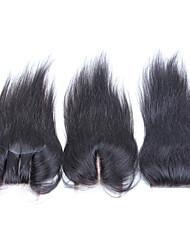 """8-20 """"brasileira de seda tamanho encerramento lace reta 4x4 natural preto remy virgem do laço do cabelo humano top encerramento"""