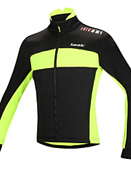 SANTIC Cycling Jacket Men's Bike Jacket Tops Thermal / Warm Windproof Anatomic Design Fleece Lining Reflective Strips Cotton 100%