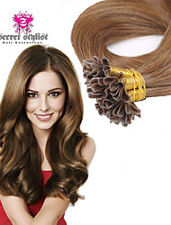"Russian Virgin Human Keratin Hair Extension Pre-Bonded Nail Hair U Tip Hair 20"" 100pcs/Lot In Stock"