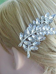 Bridal Headpiece Wedding Hair Comb Silver-tone Clear Rhinestone Crystal Leaf Hair Comb Bridal Hair Comb