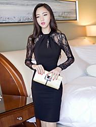 Mulheres Vestido Altura dos Joelhos Manga Longa Colarinho Chinês Renda Mulheres