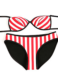 Women's Halter Bikinis , Geometric Wireless Nylon/Viscose Red
