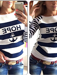 Women's Print / Striped White Sweats & Hoodies , Casual Hoodie Long Sleeve