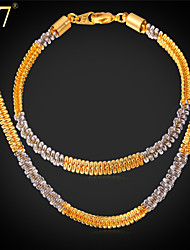 U7® Men's Fancy Two-Tone Gold Bracelet from Italy Jewelry Set Platinum/Gold Plated Double Plated Chain Necklace Set