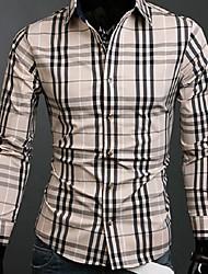 Men's Plaids Casual / Work Shirt,Cotton Long Sleeve Black / Beige