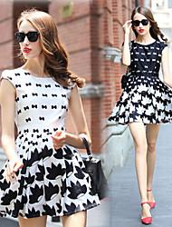 Women's Print White / Black Dresses , Work Round Sleeveless