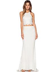 Women's Cross Back Bridal Lace Maxi Skirt Set