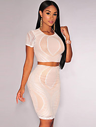 Women's Optical Lace Crop Skirt Set