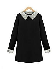 Women's Patchwork Black Dress , Casual Shirt Collar Long Sleeve