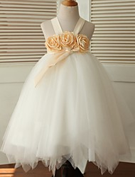 Ball Gown Tea-length Flower Girl Dress - Satin / Tulle Sleeveless Straps with