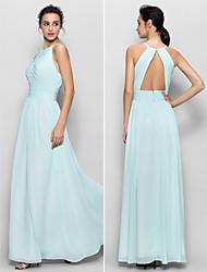 Floor-length Chiffon Bridesmaid Dress - Sky Blue Sheath/Column Jewel