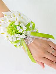 Bouquets de Noiva Atado à Mão Lírios Buquê de Pulso Casamento Festa / noite Cetim Cetim Elástico