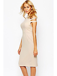 Women's Love Pleated Pencil Dress with Cut out Shoulder