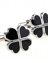Classic Lucky Four Leaf Cuff Links (Black)