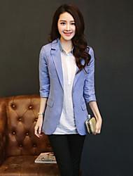 Women's Solid Blue / Red / Green Blazer , Casual / Work Shirt Collar ¾ Sleeve