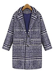 Yana Women'S Big Yards Long Paragraph Korean Version Of Slim Woolen Coat Female Striped Coat