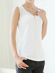 Women's Jacquard White / Black Vest , Round Neck Sleeveless