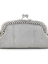 Women Satin Minaudiere Clutch / Evening Bag - Silver