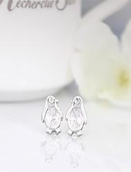 925 sterling silver penguin 3a cz stud earrings korean tv drama,magnetic earrings for men