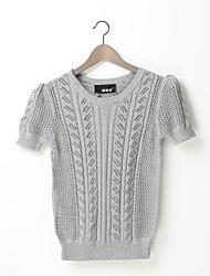 Damen Kurz Pullover Retro Niedlich Solide Mehrfarbig Rundhalsausschnitt Kurzarm Baumwolle Leinen Andere Herbst Dünn Mikro-elastisch
