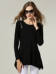 SEXY Women's Color Block Black / Gray Tops & Blouses , Vintage / Sexy / Casual / Work Round Long Sleeve  plus size