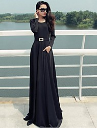 Women's Party/Cocktail Sexy Loose Dress,Solid Round Neck Maxi Long Sleeve Black Fall