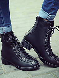 Women's Boots Winter Combat Boots / Round Toe Dress Low Heel Lace-up Black / Brown Others