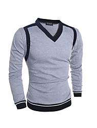 Herren Pullover-Einfarbig Freizeit / Büro Baumwolle Lang Grau