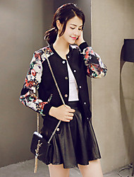 Women's Floral White / Black Jackets , Casual / Print Crew Neck Long Sleeve Jackets
