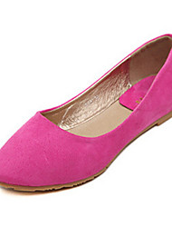 Women's Shoes Suede Low Heel Pointed Toe Flats Casual Black/Pink/Purple/Red