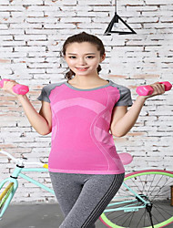 Running T-shirt Women's Short Sleeve Quick Dry Tactel Yoga / Fitness / Running Sports Sports Wear StretchyIndoor / Outdoor clothing /