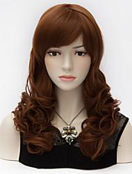 Ladies Fashion Kinky Curly Hair Full Bang Medium Long Orange&Brown Mixed Universal Purecas Party Women Wig