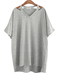 Women's Cut Out Solid T-shirt (cotton)