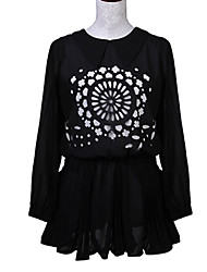 Women's Print Blue / Pink / Black / Almond Dress , Print Peter Pan Collar Long Sleeve