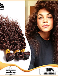 3pcs Brazilian Hair Bundles Weaves Chocolate Brown Deep Curl Hair Weft 100% Unprocessed Brazilian Human Hair Weft