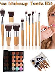11pcs outils de maquillage kit fondation de fard à paupières cosmétiques brosse + 15 couleurs anti-cernes