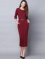 De las mujeres Vestido Para Trabajo Un Color Midi Cuello Camisero Algodón